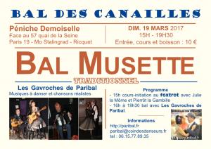Affiche du Bal des Canailles de mars avec les Gavroches de Paribal